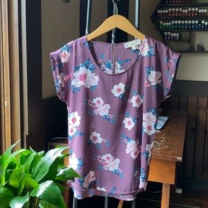 Purple Floral Causal/Dress Shirt